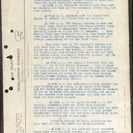 War Diary Extract Football Incident East Surrey Reg - Rearden