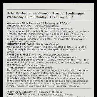 Gaumont Theatre, Southampton, February 1981