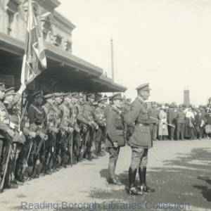 The Return of the 5th Battalion Royal Berkshire Regiment on 18 June 1919. The men are commanded by Colonel Goodland and are being addressed by Colonel Foley.