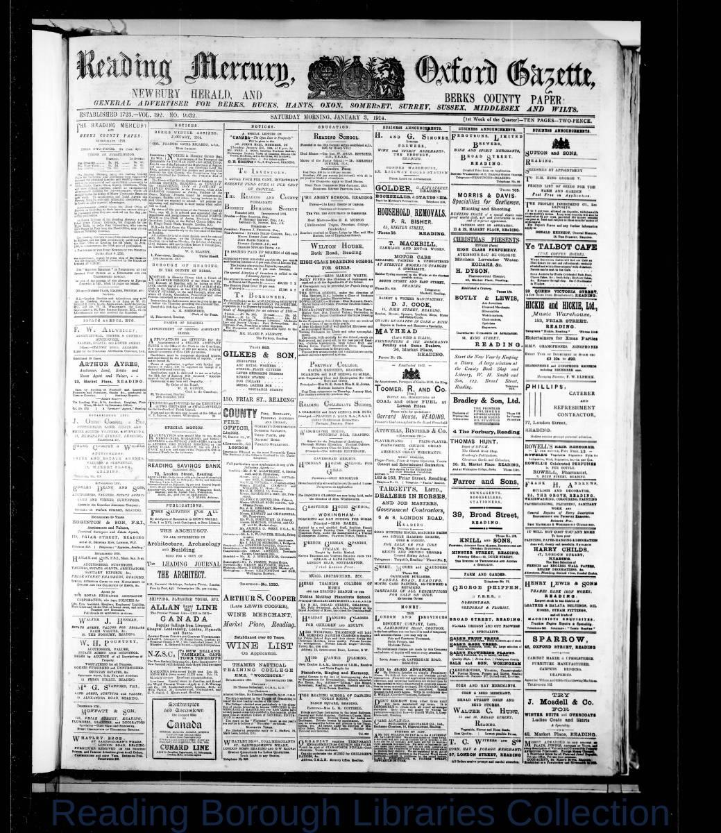 Reading Mercury Oxford Gazette, Saturday, January 3, 1914. Pg1