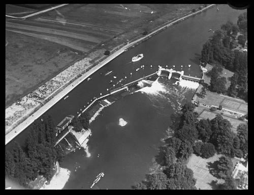 Aerial view of Teddington weir