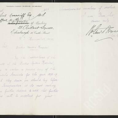 Letter from Mr. Fraser, clerk to the Trades Maiden Hospital