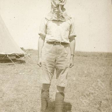 British Officer Wearing Gas Mask