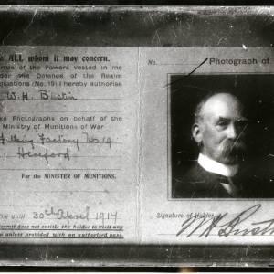 W H Bustin's war photographer permit