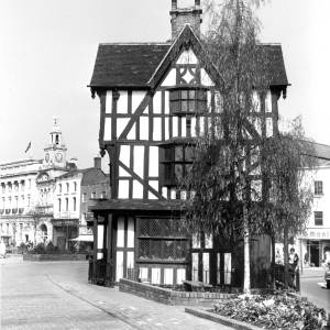 The Black and White House, High Town Hereford, on a quiet day.