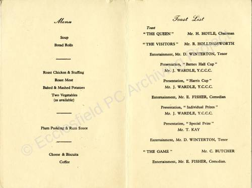 Chapeltown and District Cricket League Annual Dinner 1952 c.