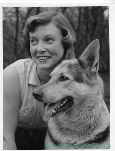 A young lady with Alsatian dog.
