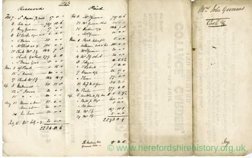 Nag's Head Inn, accounts record, 1843