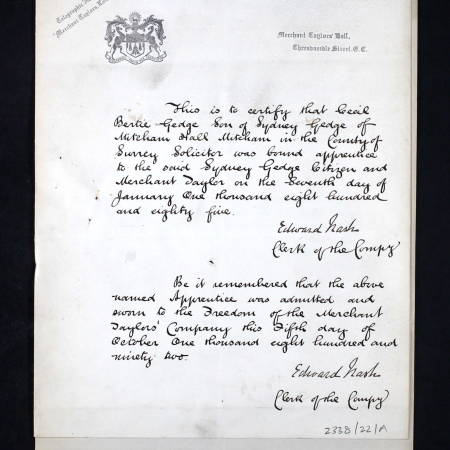 Freedom of the City Document for 2nd Lieutenant Cecil Bertie Gedge