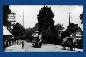 Tram at the foot of Wimbledon Hill Road