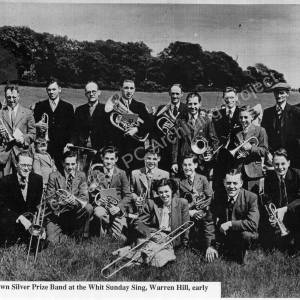 Chapeltown Silver Prize Band at the Whit Sing, Warren Hill early 1950's