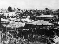 Mitcham Fair: Aerial view showing roundabouts and swingboats