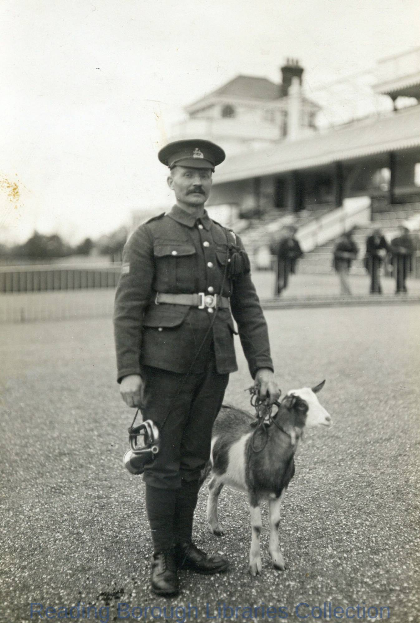 Member of Berkshire National Reserve and Regimental Pet Goat, Prisoner-of-War Camp, Newbury Racecourse, 1914.