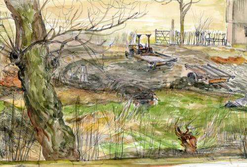 Booths Lane farmyard by Dorothea Rowlinson
