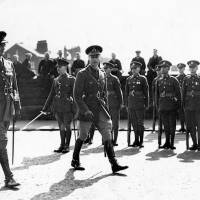 King George VI inspecting soldiers during his royal visit, Bootle, 1938