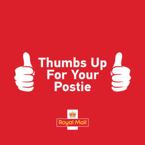 Thumbs up postie graphic, 1 May 2020