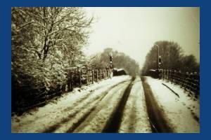 Croydon Road, Mitcham: Railway Bridge with snow.