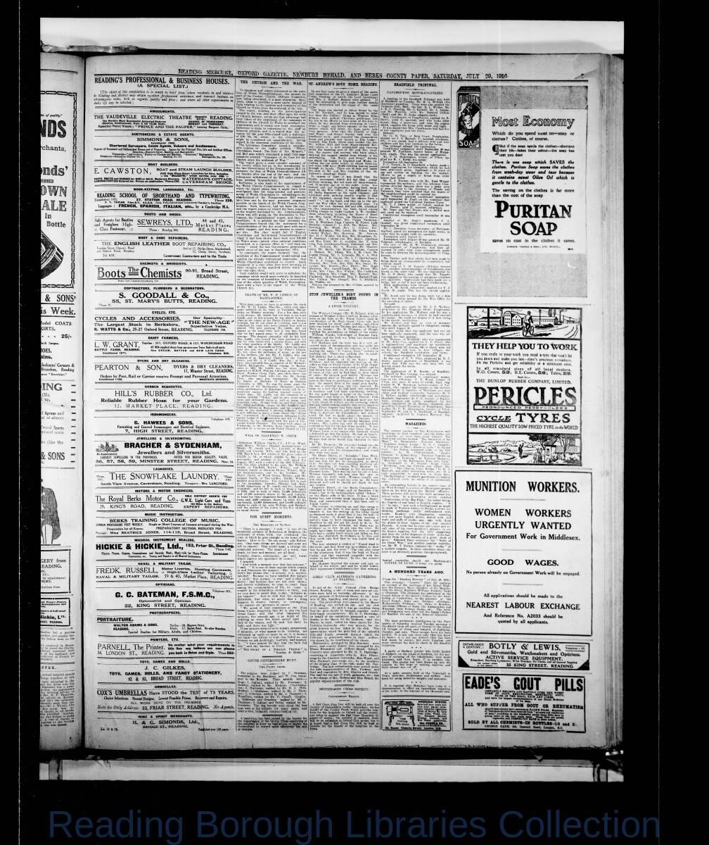Reading Mercury Oxford Gazette Saturday July 29, 1916. Pg 2