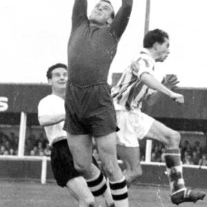 Goalkeeper in command at Edgar Street, 1960s.