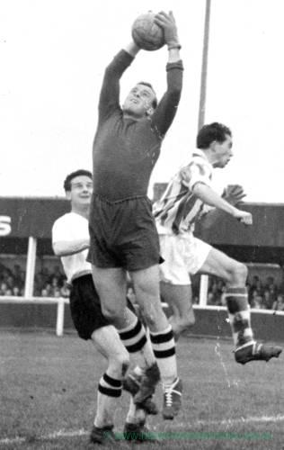 Goalkeeper in command at Edgar Street, 1960s.