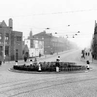 Traffic roundabout at Linacre Lane and Stanley Road, Bootle, 1934