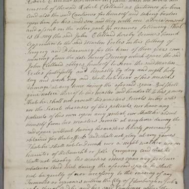 Indenture between Martin Eccles, surgeon apothecary of Edinburgh and John Clelland, son of Robert Clelland, merchant in Crail