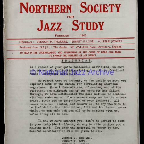 Northern Society For Jazz Study Vol.1 No.3 0001