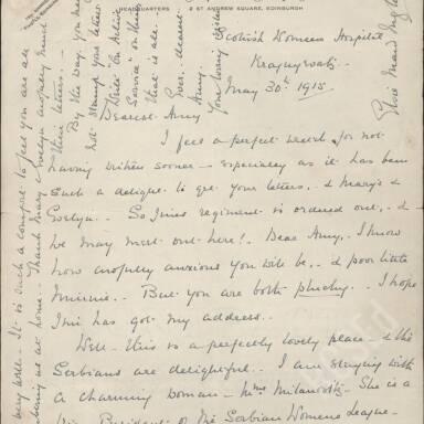 Elsie Inglis to Amy Inglis Simson, May 1915 (Part 1)