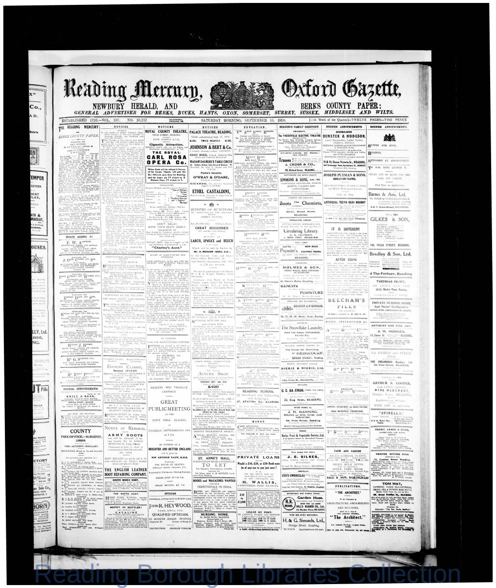 Reading Mercury Oxford Gazette Saturday, September 13, 1919. Pg 1