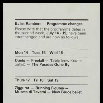 Sadler's Wells Theatre, London, July 1975