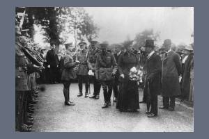 George V and Queen Mary visit St. Mary's School, Merton