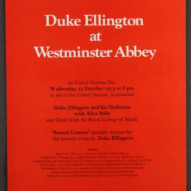 Duke Ellington Orchestra 'Sacred Concert' – Westminster  Abbey 24th   October 1973 001