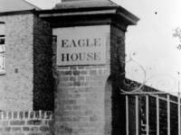 Eagle House, London Road: Stone eagle and brick pillar