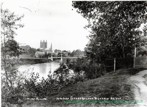 Victoria Bridge and Cathedral from Bartonsham, Hereford