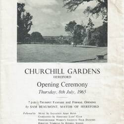 Churchill Gardens opening ceremony programme, Hereford, Thursday 8th July 1965