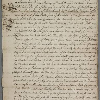 Indenture between John Kennedy, surgeon apothecary and James Murray