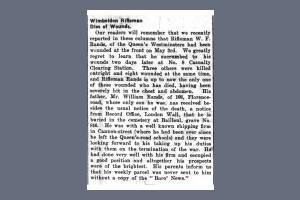 Newspaper Extract - William Rands