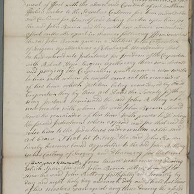 Indenture between John Rattray, surgeon apothecary and John Brown
