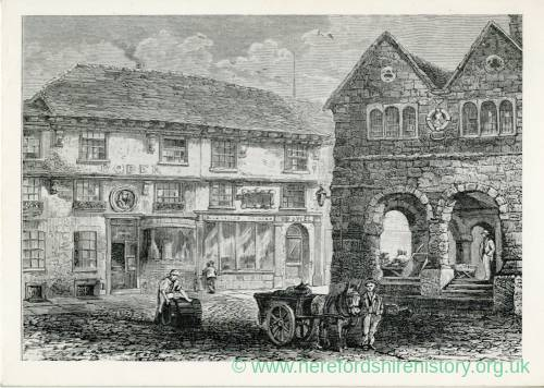 John Kyrle's House and the Market House, Broad Street. Early 19th Century print
