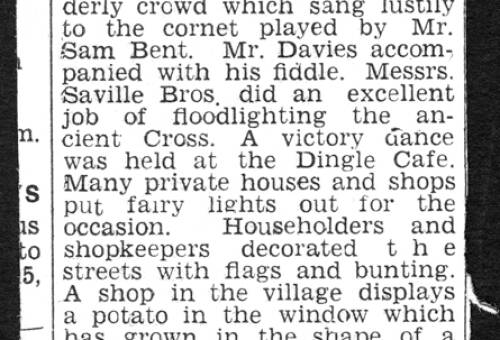 1945, Lymm Cross floodlit for Victory Revels