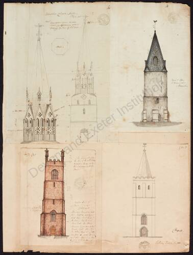 Tower Spire, St Brannock's, Braunton. Tower, Colebrooke Church, Crediton. Tower, Sidbury Church, Sidbury