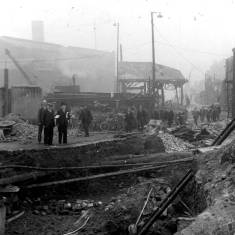 Brigham and Cowan's shipyard showing bomb damage