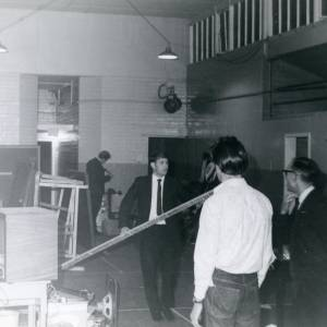 AMT003 Packing up Ross Youth Club prior to the demolition of the Old Drill Hall, Hill Street, Ross-on-Wye, 1969.jpg
