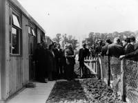 The Minister of Housing unveils the last prefab built on the St Helier Estate, 1954