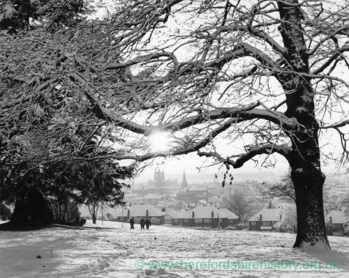A wintry scene at Churchill Gardens Hereford.