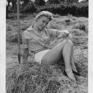 500 - Blonde girl sitting in hay field
