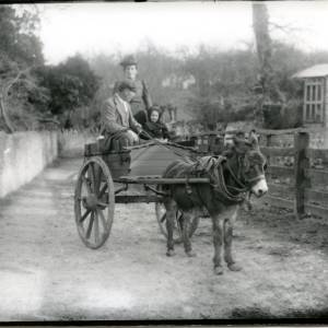 G36-020-04 Donkey cart with man, lady and girl on country road.jpg
