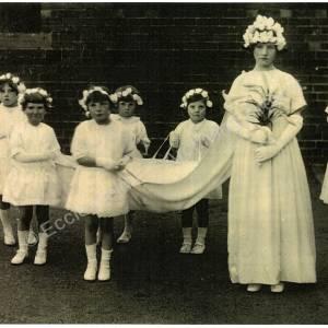 May Queen, Bridget Cawley, at St Mary's Roman Catholic Church, Mortomley, 1927.