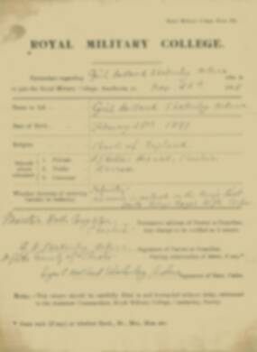 RMC Form 18A Personal Detail Sheets Nov 1915 Intake - page 3