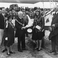 Celebrity aviatrix Winifred Brown, after arrival at Southport in 1930